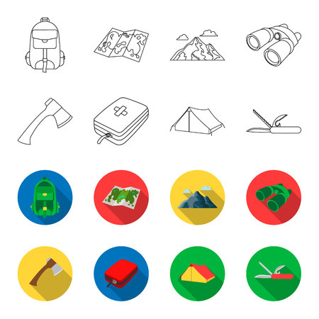 Ax, first-aid kit, tourist tent, folding knife. Camping set collection icons in outline,flat style bitmap symbol stock illustration . Stock Photo