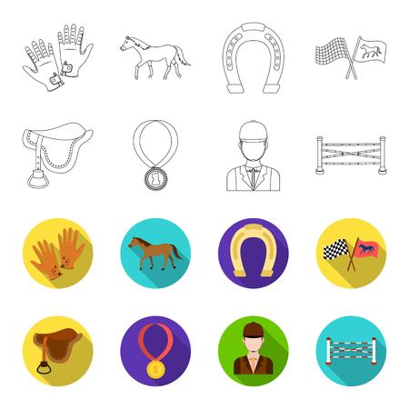 Saddle, medal, champion, winner .Hippodrome and horse set collection icons in outline,flat style bitmap symbol stock illustration .