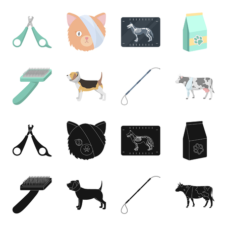 Dog, cow, cattle, pet .Vet Clinic set collection icons in black,cartoon style bitmap symbol stock illustration .