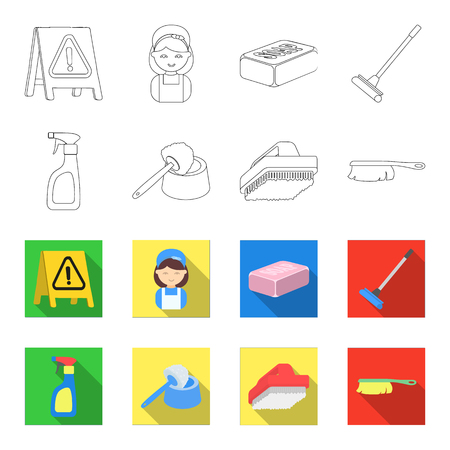 Cleaning and maid outline,flat icons in set collection for design. Equipment for cleaning bitmap symbol stock  illustration.