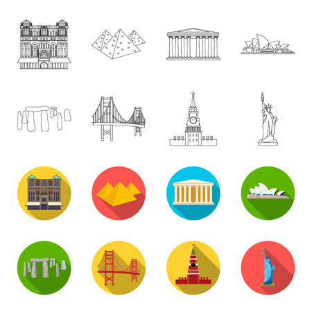 Sights of different countries outline,flat icons in set collection for design. Famous building bitmap symbol stock  illustration. Stock Photo