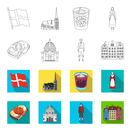 Denmark, history, restaurant, and other  icon in outline,flat style.Sandwich, food, bread icons in set collection