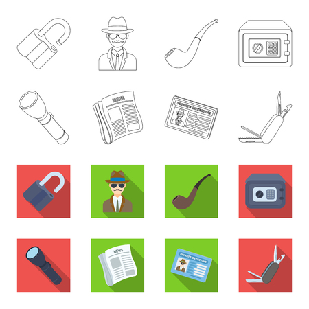 Flashlight, newspaper with news, certificate, folding knife.Detective set collection icons in outline,flat style bitmap symbol stock illustration .