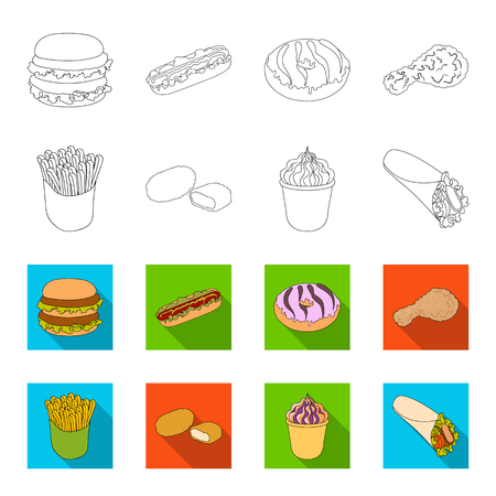 Food, refreshments, snacks and other  icon in outline,flat style.Packaging, paper, potatoes icons in set collection.
