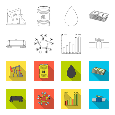 Railway tank, chemical formula, oil price chart, pipeline valve. Oil set collection icons in outline,flat style bitmap symbol stock illustration .