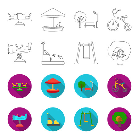 Airplane on a spring, swings and other equipment. Playground set collection icons in outline,flat style bitmap symbol stock illustration .