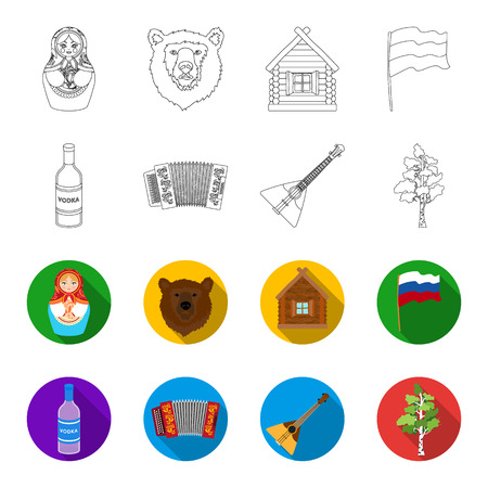 Russia, country, vodka,accordion .Russia country set collection icons in outline,flat style bitmap symbol stock illustration .