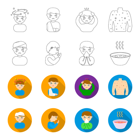 A man with a bandaged head, a man coughing, a man snorts a snot, a bowl, a bowl of hot broth into a handkerchief. Sick set collection icons in outline,flat style bitmap symbol stock illustration . Reklamní fotografie