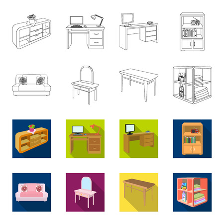 Soft sofa, toilet make-up table, dining table, shelving for laundry and detergent. Furniture and interior set collection icons in outline,flat style isometric bitmap symbol stock illustration .