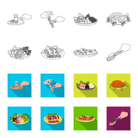 Fried chicken, vegetable salad, shish kebab with vegetables, fried sausages on a plate. Food and Cooking set collection icons in outline,flat style bitmap symbol stock illustration .