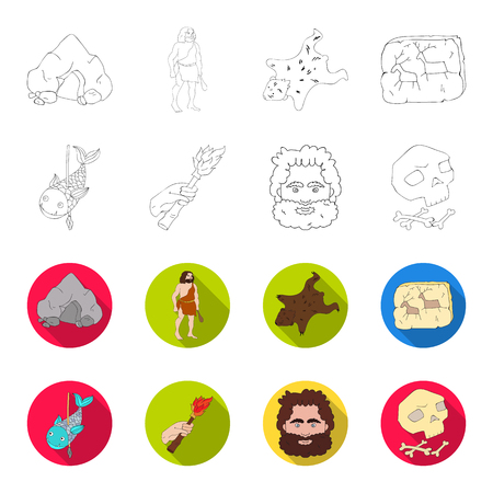 Primitive, fish, spear, torch .Stone age set collection icons in outline,flat style bitmap symbol stock illustration .