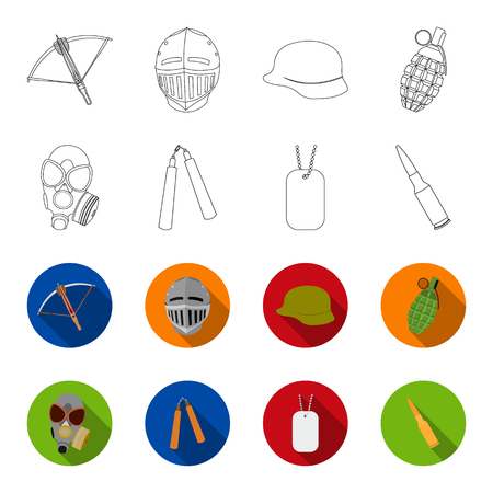 Gas mask, nunchak, ammunition, soldier token. Weapons set collection icons in outline,flat style bitmap symbol stock illustration .