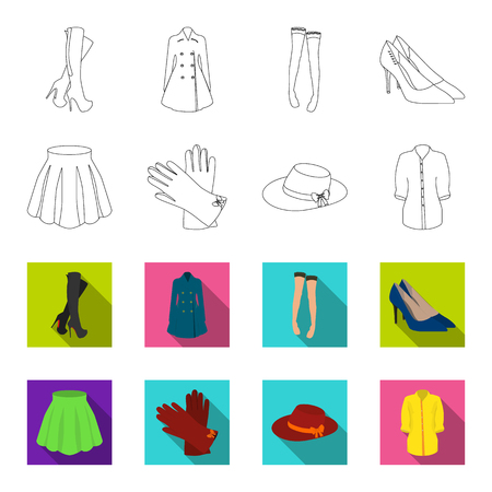 Skirt with folds, leather gloves, women hat with a bow, shirt on the fastener. Women clothing set collection icons in outline,flat style bitmap symbol stock illustration . Stock Photo