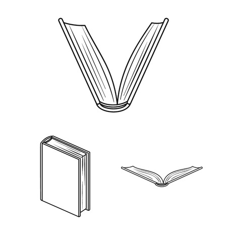 Book bound outline icons in set collection for design. Printed products vector symbol stock  illustration. Stockfoto - 106638406