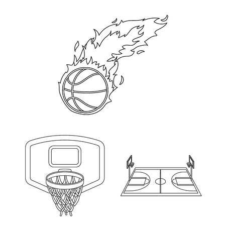 Basketball and attributes outline icons in set collection for design.Basketball player and equipment vector symbol stock  illustration.