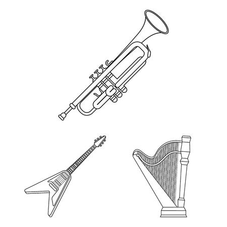 Icone di contorno di strumento musicale nella raccolta di set per il disegno. Stringa e strumento a fiato simbolo vettore illustrazione stock.