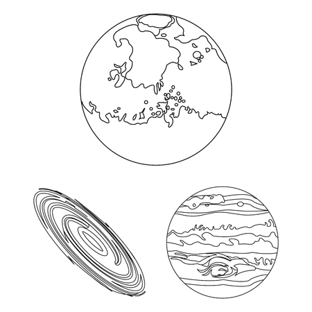 Planets of the solar system outline icons in set collection for design. Cosmos and astronomy vector symbol stock  illustration.