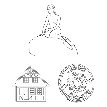 Traveling in Denmark outline icons in set collection for design. Denmark and attractions vector symbol stock  illustration.