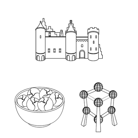 Country Belgium outline icons in set collection for design.Travel and attractions Belgium vector symbol stock web illustration.