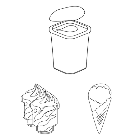 Milk product outline icons in set collection for design.Milk and food vector symbol stock web illustration.
