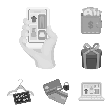 E-commerce, Purchase and sale monochrome icons in set collection for design. Trade and finance vector symbol stock web illustration. Vecteurs
