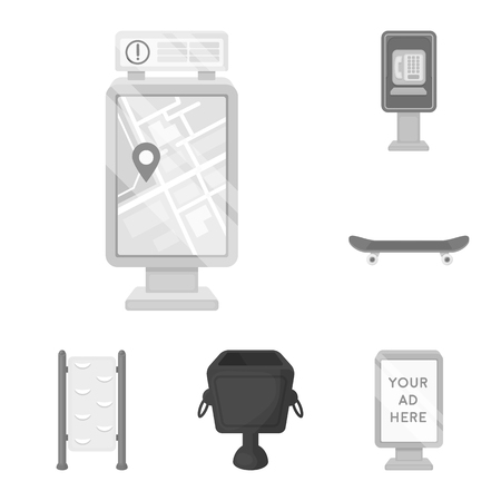 Park, equipment monochrome icons in set collection for design. Walking and rest vector symbol stock web illustration.