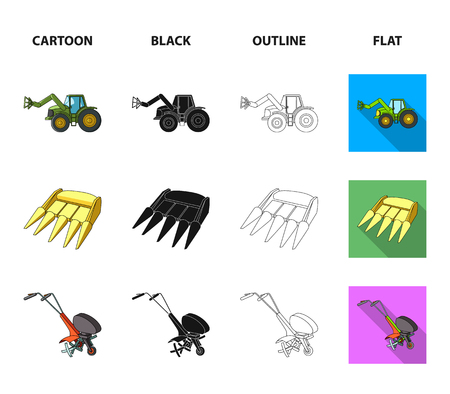 Motoblock and other agricultural devices. Agricultural machinery set collection icons in cartoon,black,outline,flat style vector symbol stock illustration web. Illustration