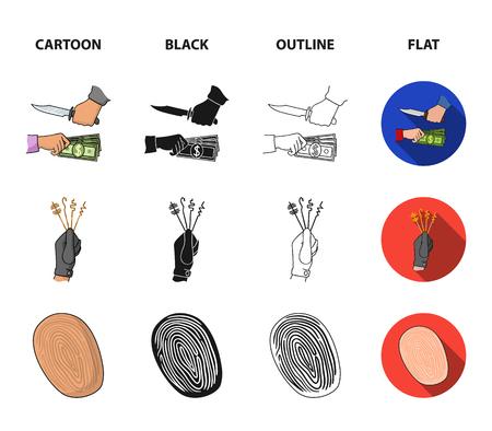 Robbery attack, fingerprint, police officer badge, pickpockets.Crime set collection icons in cartoon,black,outline,flat style vector symbol stock illustration web. Illustration