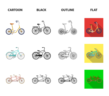 Children bicycle, a double tandem and other types.Different bicycles set collection icons in cartoon,black,outline,flat style vector symbol stock illustration web.