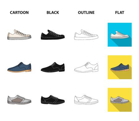 A set of icons on a variety of shoes.Different shoes single icon in cartoon,black,outline,flat style vector web symbol stock illustration.