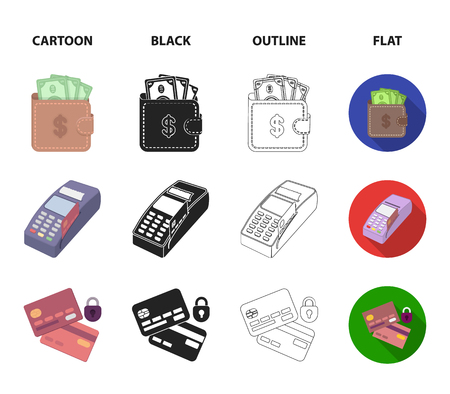 Purse, money, touch, hanger and other equipment. E commerce set collection icons in cartoon,black,outline,flat style vector symbol stock illustration web.