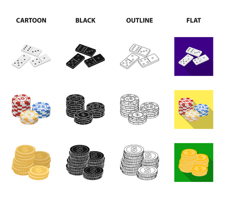 Domino bones, stack of chips, a pile of mont, playing blocks. Casino and gambling set collection icons in cartoon,black,outline,flat style vector symbol stock illustration web.