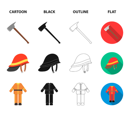 Ax, helmet, uniform, burning building. Fire departmentset set collection icons in cartoon,black,outline,flat style vector symbol stock illustration web.