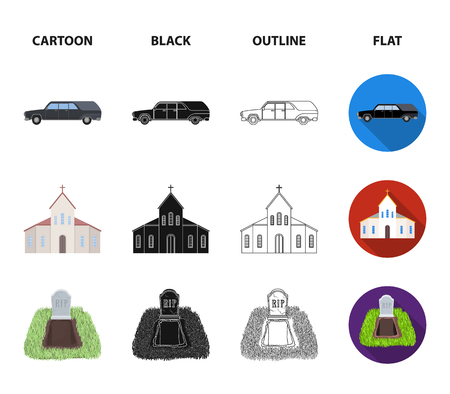 Black car to transport the grave of the deceased, a church for a funeral ceremony, a grave with a tombstone, a death certificate. Funeral ceremony set collection icons in cartoon,black,outline,flat style vector symbol stock illustration web.