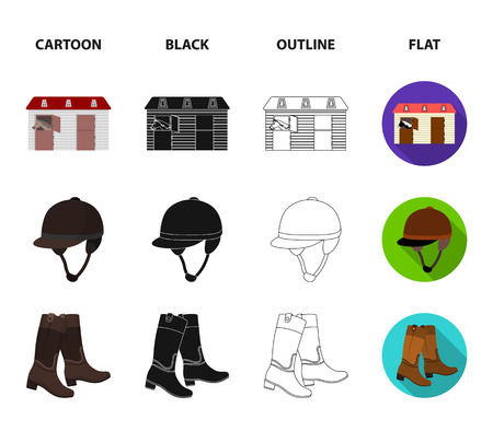 Boots, grass, stadium, track, rest .Hippodrome and horse set collection icons in cartoon,black,outline,flat style vector symbol stock illustration web. Illustration
