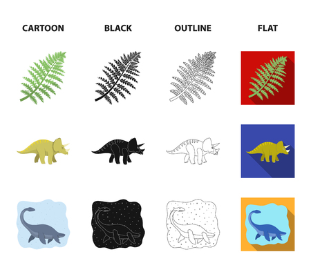 Sea dinosaur,triceratops, prehistoric plant, human skull. Dinosaur and prehistoric period set collection icons in cartoon,black,outline,flat style vector symbol stock illustration web.