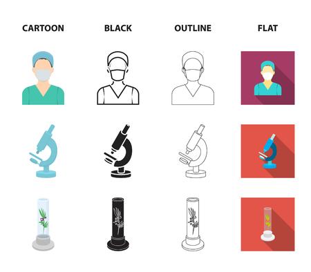 Plant in vitro, nurse, microscope, tonometer. Medicine set collection icons in cartoon,black,outline,flat style vector symbol stock illustration web. Illustration