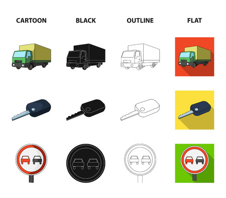 Truck with awning, ignition key, prohibitory sign, engine oil in canister, Vehicle set collection icons in cartoon,black,outline,flat style vector symbol stock illustration web.