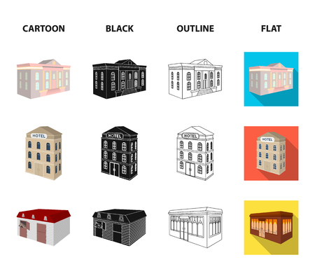The museum building, a three-story hotel, a stable at the racecourse, a residential cottage. Architectural and building set collection icons in cartoon,black,outline,flat style vector symbol stock illustration web. 向量圖像