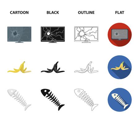 Gebroken tv-monitor, bananenschil, visskelet, vuilnisbak. Vuilnis en afval instellen collectie iconen in zwart, plat, zwart-wit stijl vector symbool stock illustratie web.