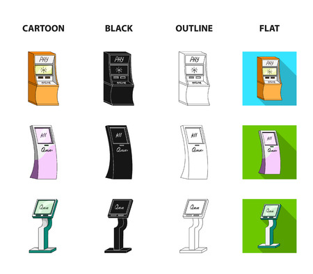 Medical terminal, ATM for payment,apparatus for queue. Terminals set collection icons in cartoon,black,outline,flat style isometric vector symbol stock illustration web . Ilustração