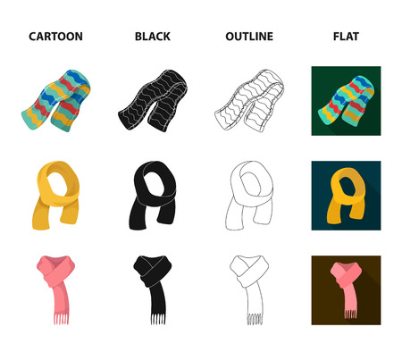 Various kinds of scarves, scarves and shawls. Scarves and shawls set collection icons in cartoon,black,outline,flat style vector symbol stock illustration web.