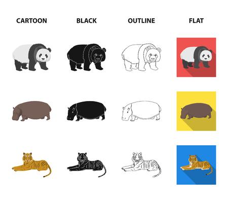 Bamboo bear, hippopotamus, wild animal tiger, monkey . Wild animal set collection icons in cartoon,black,outline,flat style vector symbol stock illustration web. Illustration