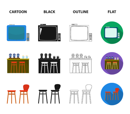 TV, bar counter, chairs and armchairs, potato chips.Pub set collection icons in cartoon,black,outline,flat style vector symbol stock illustration web.