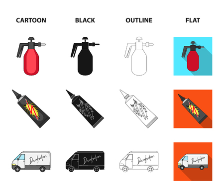 Flea, special car and equipment cartoon,black,outline,flat icons in set collection for design. Pest Control Service vector symbol stock web illustration.