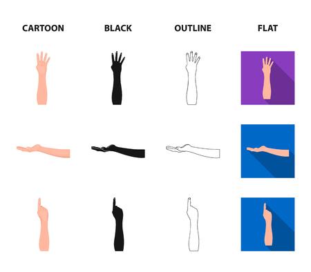 Gebarentaal tekenfilm, zwart, overzicht, plat pictogrammen in set collectie voor design.Emotionele onderdeel van communicatie symbool voorraad web vectorillustratie.