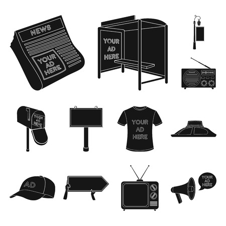 Production of advertising black icons in set collection for design. Advertising equipment vector symbol stock web illustration. 向量圖像