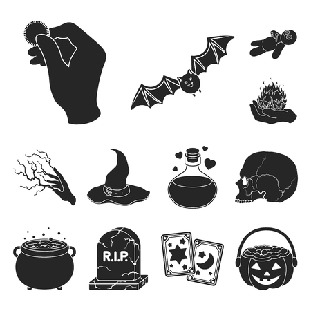 Black and white magic black icons in set collection for design. Attributes and sorceress accessories vector symbol stock web illustration. Stok Fotoğraf - 106655785