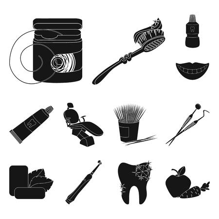 Tandheelkundige zorg zwarte pictogrammen in set collectie voor design. Verzorging van tanden vector symbool voorraad web illustratie.