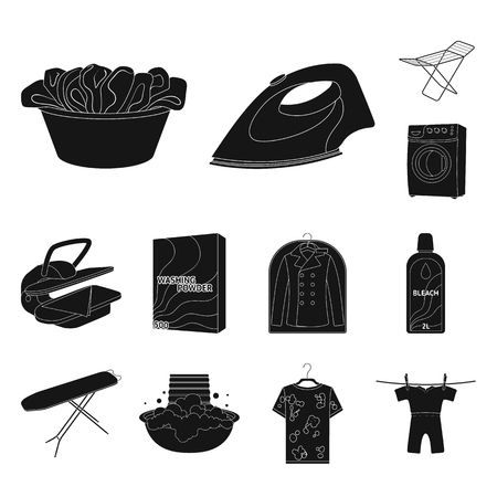 Dry cleaning equipment black icons in set collection for design. Washing and ironing clothes vector symbol stock web illustration.